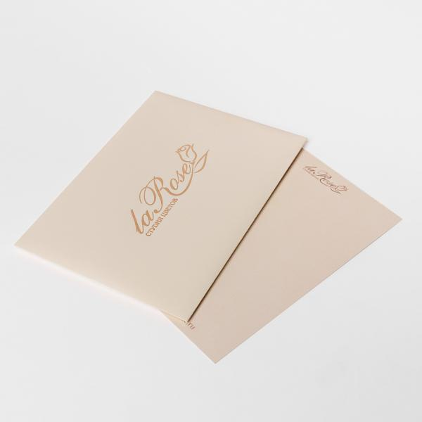 Postcard in a beige envelope