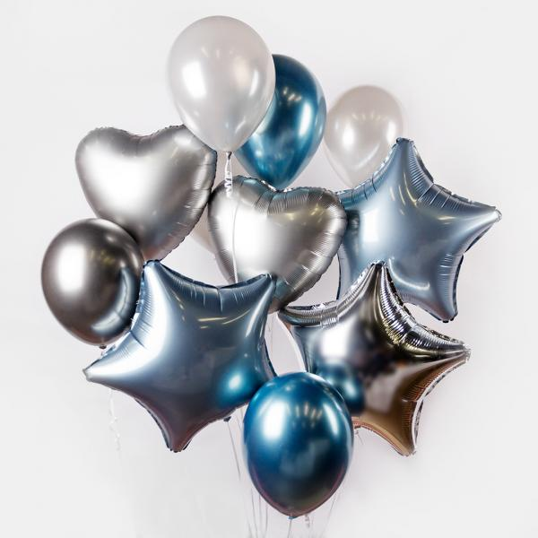Bunch of silver blue balloons