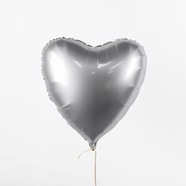 "Foil balloon ""Silver heart"""