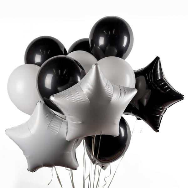 A bunch of silver-black air balloons